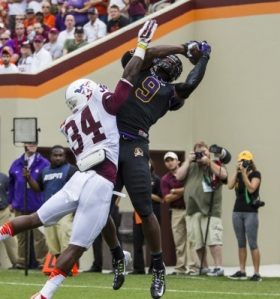 Rising above: Cam Worthy dominated the air against the Hokies.