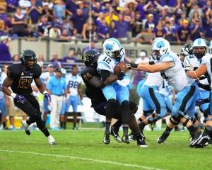 DE Johnathon White buries a North Carolina player.