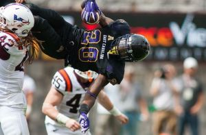 The Playmaker: Hawkins is the face of the Pirates' secondary, making plays like this acrobatic pick vs Virginia Tech.